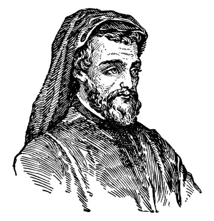 Geoffrey Chaucer, c. 1343-1400, he was famous English poet, author, philosopher, and astronomer, famous as Father of English literature, vintage line drawing or engraving illustration Foto de archivo - 133023540