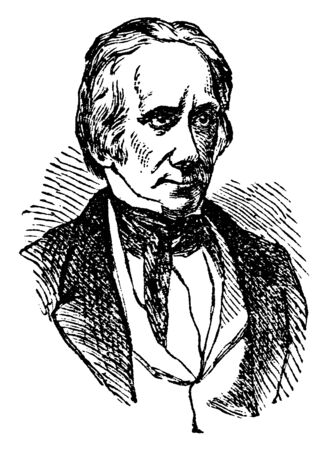 Henry Clay, 1777-1852, he was an American lawyer, statesman, skilled orator, United States senator from Kentucky and speaker of U.S. house of representatives, vintage line drawing or engraving illustration