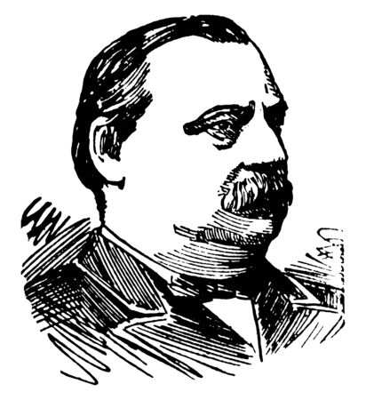 Grover Cleveland, 1837-1908, he was an American politician and lawyer, 22nd and 24th president of the United States, governor of New York, vintage line drawing or engraving illustration