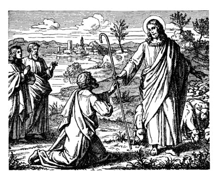 The Restoration of Peter is an incident described the New Testament in which Jesus appeared to his supporters after his resurrection, and spoke to Peter in specifically, vintage line drawing or engraving illustration.
