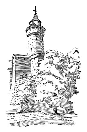 Feudal Castle Tower in foster, 1921, mounted from the inside, part of strong, defensive structure , vintage line drawing or engraving illustration. Imagens - 133014562