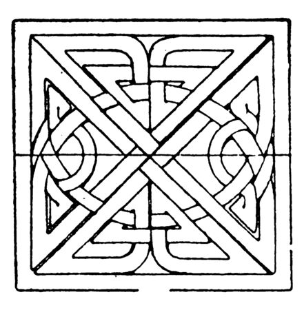Scandinavian Square Panel is a bas-relief design found on a Celtic stone cross, vintage line drawing or engraving illustration. Ilustrace