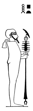 In this image a man is standing and in his hand is a special kind rod, vintage line drawing or engraving illustration.