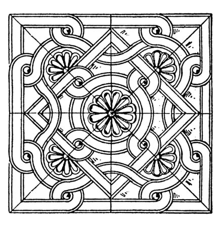 Byzantine Square Panel is a bas-relief design, vintage line drawing or engraving illustration. 矢量图像