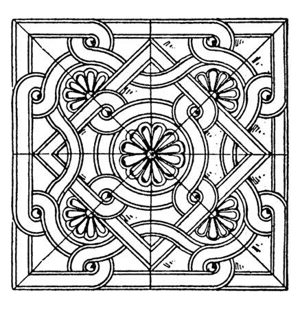 Byzantine Square Panel is a bas-relief design, vintage line drawing or engraving illustration. Illustration