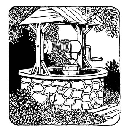This is a well of water which is made by stone around which trees and plants are engaged, vintage line drawing or engraving illustration.