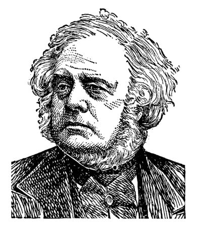 John Bright, 1811-1889, he was a British radical and liberal statesman, orator, and promoter of free trade policies, famous for battling the Corn Laws, vintage line drawing or engraving illustration 스톡 콘텐츠 - 133023571