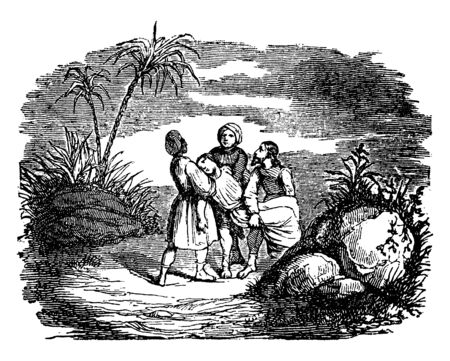 Three persons are carrying a dead body of Ananias to be buried, vintage line drawing or engraving illustration.