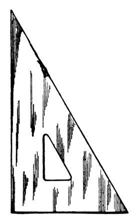 30-60 Degree Triangle such as wood and rubber or celluloid and steel and least one side in the triangle which is equal to twice the length of the shorter leg, vintage line drawing or engraving illustration. Illustration