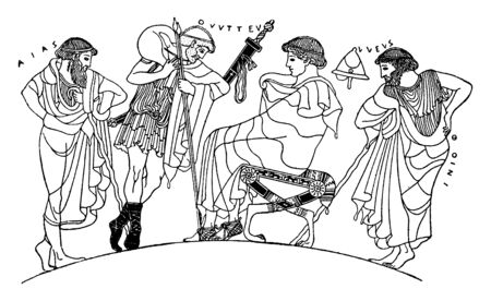 Achilles sitting on a chair and his soldiers are supporting his chair with their spears, vintage line drawing or engraving illustration.