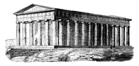 Temple of Theseus, Temple of Hephaestus and Athena Ergane, best preserved ancient Greek temple,  Doric order peripteral temple, vintage line drawing or engraving illustration.