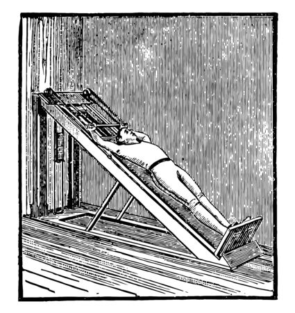 In this picture A man is exercising with the long inclined plane, used for the upper body. This is a way of an exercise, vintage line drawing or engraving illustration.  イラスト・ベクター素材