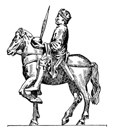 Charlemagne on horseback, 742-814, he was holy Roman emperor, king of the Franks, king of the Lombard and emperor of the Romans, vintage line drawing or engraving illustration