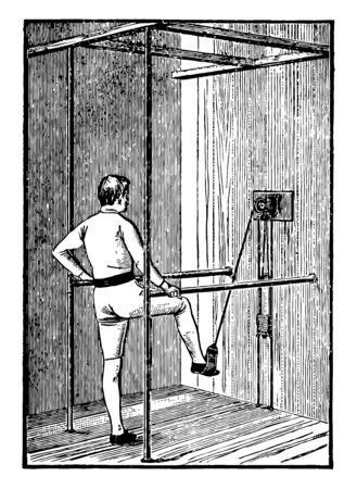 Stirrup is a device which is used for leg exercises. In this image a man exercising with the stirrup, vintage line drawing or engraving illustration.