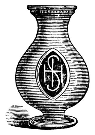 In this picture shown, Bishops Crosier from the Papal Power period during the middle Ages, vintage line drawing or engraving illustration.