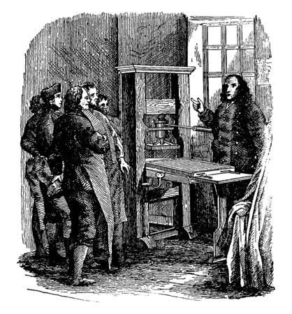 This illustration represents Franklin Press, vintage line drawing or engraving illustration.  イラスト・ベクター素材