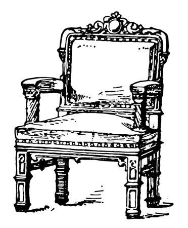 Modern arm chair has arm rests perpendicular to center seat and is open, , vintage line drawing or engraving illustration