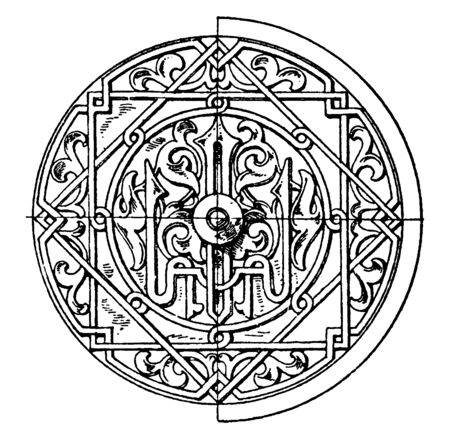 Arabian Circular Panel is a 16th century bas-relief design, vintage line drawing or engraving illustration.