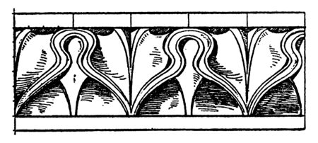 Leaf Enrichment Moulding is a design found in Erechtheum, ancient Greek Temple, sylleptic branches, vintage line drawing or engraving illustration.