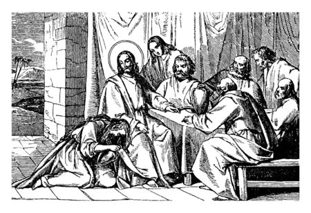 Jesus is sitting with some people and a woman bows down on her knees and placed her head on the foot of Jesus, vintage line drawing or engraving illustration. Foto de archivo - 133015581