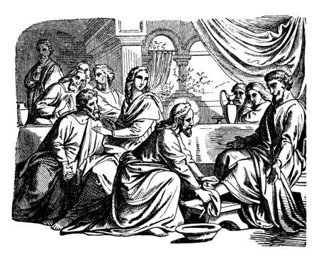 Jezus waste de voeten van zijn twaalf discipelen tijdens zijn laatste avondmaal voor de kruisiging, vintage lijntekening of gravure illustratie. Vector Illustratie