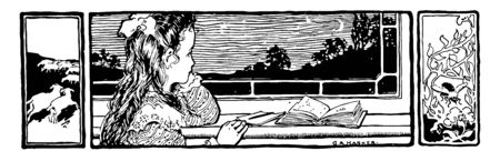 Reading at Window, bees, book, child, decorative Border, girl, homework, sheep, window, vintage line drawing or engraving illustration. Illusztráció