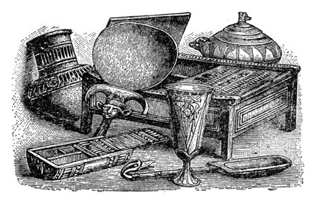 Egyptian Household Items is an illustration of various, vintage line drawing or engraving illustration.