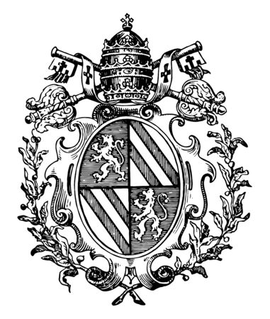 Roman Catholic Coat of Arms typically adopts within his shield symbols, vintage line drawing or engraving illustration. 일러스트