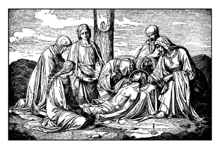 Jesus is taken down from the cross and is attended by Mary, Joseph and Nicodemus, vintage line drawing or engraving illustration.