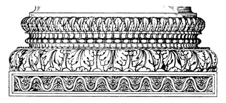 Roman Base, artificial leaves, Italy, natural, Roman, Rome, row, shaft, support, temple, concord, vintage line drawing or engraving illustration.