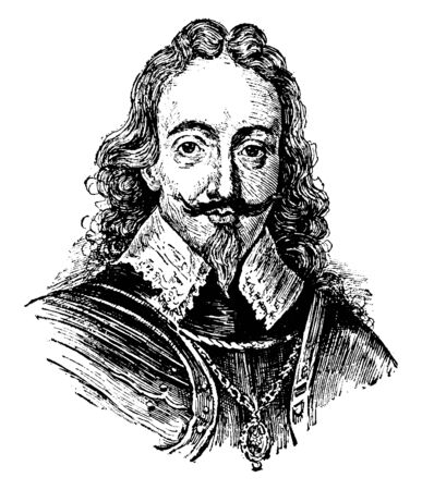 Charles I, 1600-1649, he was king of the three kingdoms of England, Scotland, and Ireland from 1625 to 1649, vintage line drawing or engraving illustration