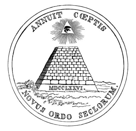The Great Seal of the United States, this circle shape seal has an eye in trianle, and unfinished pyramid, MDCCLXXVI written on pyramid, vintage line drawing or engraving illustration