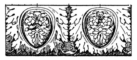 Colossal Egg-and-Leaf Moulding is found in the temple of Jupiter, egg-and-leaf and enrichment, vintage line drawing or engraving illustration.