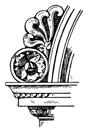Akroter is found on a fountain, Italian Renaissance, Italy, ornamental, vintage line drawing or engraving illustration. Vectores