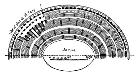 Colosseum, Half Plan,  originally the Flavian Amphitheatre, Italian Anfiteatro Flavio or Colosseo,  an elliptical amphitheatre, the center of the city of Rome, vintage line drawing or engraving illustration.