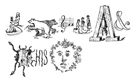 A time rebus explaining that time bears a muffled bell for the youth which hides his face in flowers, vintage line drawing or engraving illustration. Ilustração