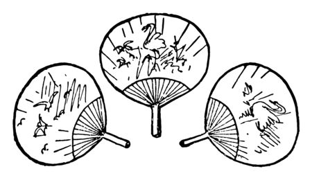 These are also known as handheld fan. Used for cooling or refreshing oneself. These fans are first used in ancient Greece, Vintage line drawing or engraving illustration. Çizim