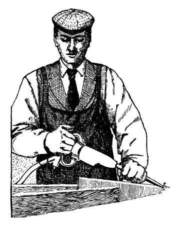 This illustration represents Pneumatic Chisel which used to carve in stone, vintage line drawing or engraving illustration. Banque d'images - 133023746