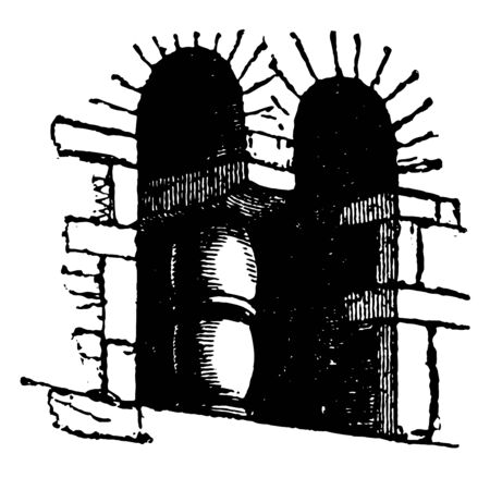 Saxon Architecture Window is the earliest stage of native English architecture and employed rubble walls, vintage line drawing or engraving illustration.  イラスト・ベクター素材