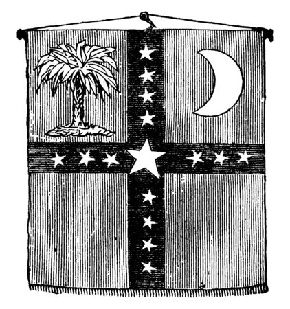 On the day that South Carolina proclaimed sovereignty, this verticle rectangle flag divide into four part with stars, upper left side has a tree and right side half moon, vintage line drawing or engraving illustration