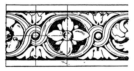 Louvre Torus Moulding is museum in Paris, curved cavetto cornice, one or more circular moldings, vintage line drawing or engraving illustration.