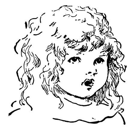 Girl of a innocent young girl Face in this picture, vintage line drawing or engraving illustration. 向量圖像