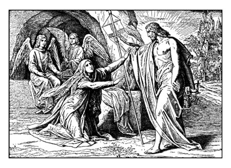 Jesus appears to Mary Magdalene after his resurrection, vintage line drawing or engraving illustration.