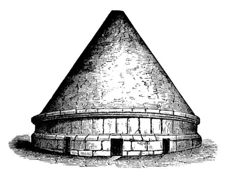 Tumuli,  most interesting monuments of Etruscan architecture,  been preserved are the tombs,  most part chambers hewn in the rock, more conical elevations resting on a superstructure, vintage line drawing or engraving illustration. Archivio Fotografico - 133015276