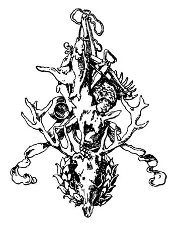 Hunting and Fishing Symbol was designed by Stuck of Munich, it have served as status symbols for those interred, vintage line drawing or engraving.