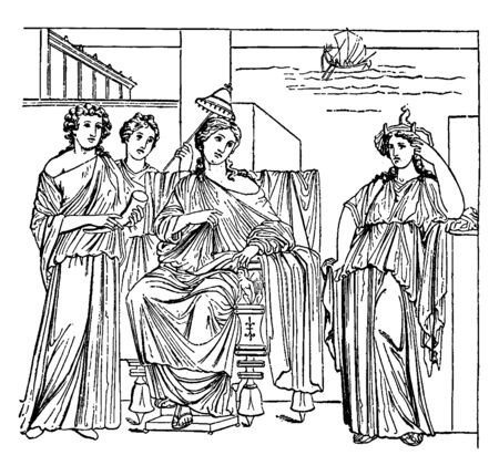 A sketch showing Dido looking sadly at the boat in which Aeneas departed, vintage line drawing or engraving illustration. 向量圖像