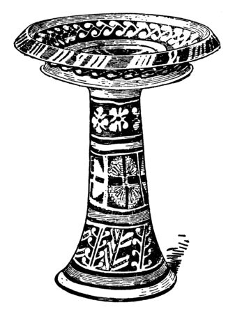 Minoan Pottery is a large Minoan vase, it is more than a useful tool for dating the mute Minoan civilization, vintage line drawing or engraving illustration. Çizim
