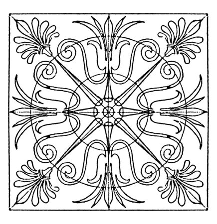 Greek Square Panel is found in Athens, it is divided into eight equal spaces, vintage line drawing or engraving illustration. Stock Illustratie