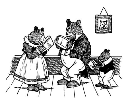 Three bears eating from their bowls, vintage line drawing or engraving illustration
