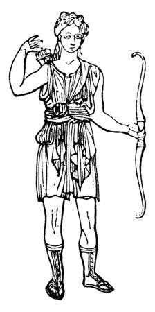 This is the attired or uniforme for the chase. Diana has holding an arrow bow in her hand, vintage line drawing or engraving illustration.